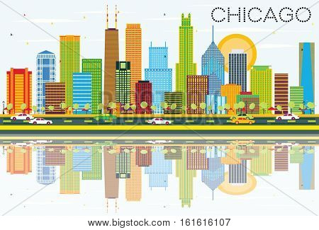 Chicago Skyline with Color Buildings and Reflections. Business Travel and Tourism Concept with Modern Architecture. Image for Presentation Banner Placard and Web Site.