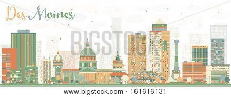 Abstract Des Moines Skyline with Color Buildings. Business Travel and Tourism Concept with Historic Architecture. Image for Presentation Banner Placard and Web Site