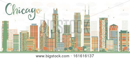 Abstract Chicago Skyline with Color Buildings. Business Travel and Tourism Concept with Modern Architecture. Image for Presentation Banner Placard and Web Site.