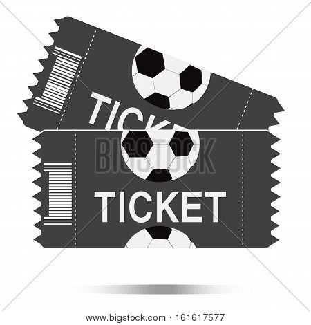 Two football tickets icon on white background Two football tickets symbol.