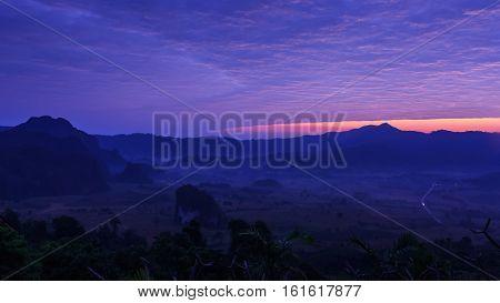 morning in Phu Lang Ka of Thailand