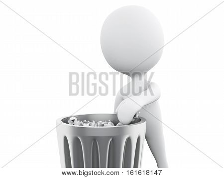 3D Illustration. White people throwing away trash. Isolated white background.