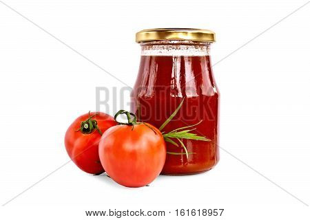 Tomato ketchup in a glass jar, two tomatoes, a sprig of tarragon isolated on a white background