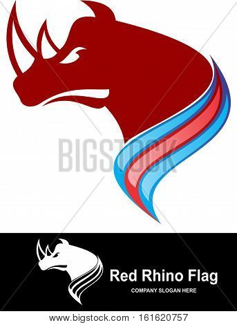 red rhino with flag of colorful logo illustration
