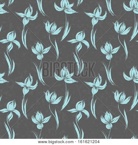 Blue oil painted iris silhouette on dark gray background. Vector illustration of iris. Floral hand drawn design elements.