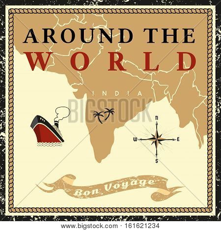 Travel concept. Around the world ship cruise. Ribbon have nice trip - Bon voyage in French letters. Freehand cartoon retro style. Tourist vessel tour vacation. Vintage banner background.