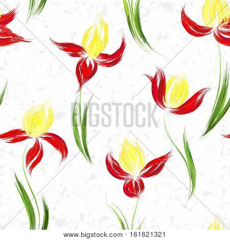 Floral seamless pattern of irises. Irises painted imitation of oil paint. Creative execution of floral ornament. Red yellow flowers on a white background.