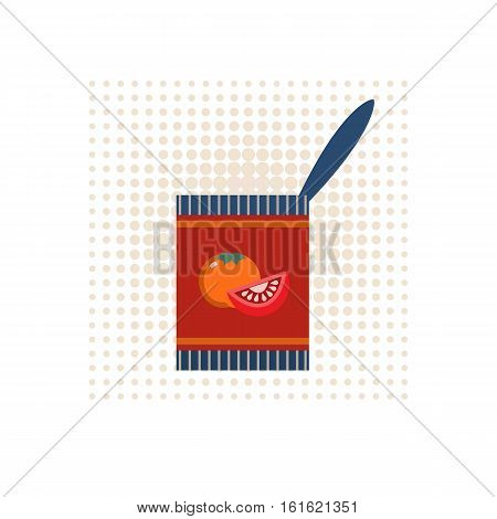Canned food concept. Freehand drawn cartoon retro style. Tomato soup in can emblem. Tinned vegetables packaging icon. Tin with tomatoes logo template. Vector advertisement label background
