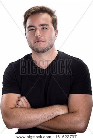 Confident looking male in a cocky or bossy pose on a white background
