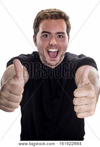 Man holding hands up with a thumbs up gesture to display approval or a win. The image depicts validation.