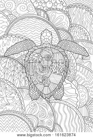 Swimming turtle with high details for anti stress coloring page, illustration in tracery style. Abstract pattern with oceanic elements for relax coloring for grown ups in zentangle style. Vector.