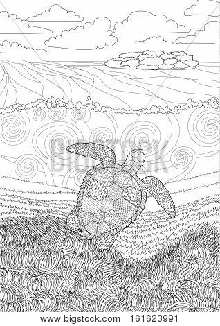 Swimming sea turtle for anti stress Coloring Page with high details, isolated on the underwater oceanic background, illustration in zentangle style. Vector monochrome drawing with caretta-caretta.