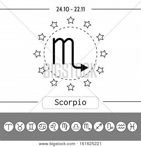 Scorpio. Signs of zodiac, flat linear icons for horoscope, predictions. Vector illustration