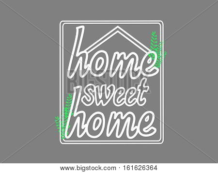 Home Sweet Home Words In Home Shape Hand Drawing.