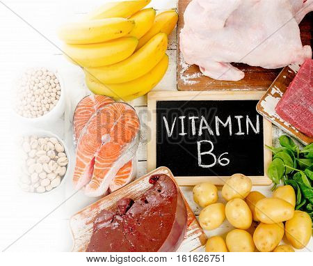 Products With Vitamin B6. Healthy Eating Concept.