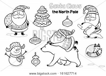 Outline set of Santa Claus, polar bear, snowman and fox. Cute characters for Christmas. Vector set. Coloring book page