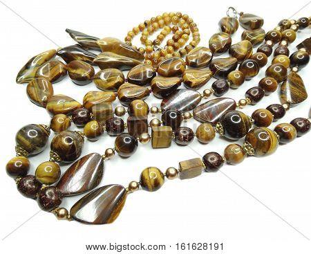 jewelry tiger eye gemstone beads isolated on white background