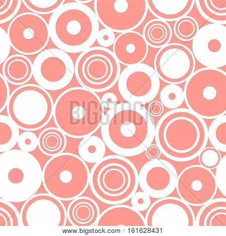 Seamless vector geometrical pattern. Endless pink background with circles. Graphic illustration. Print for cover fabric wrapping background.