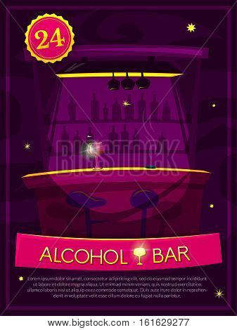 Alcohol Bar vector illustration with the bar at a nightclub