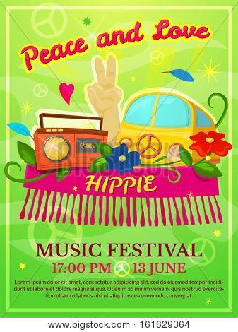 Hippie music festival poster, colorful vector illustration