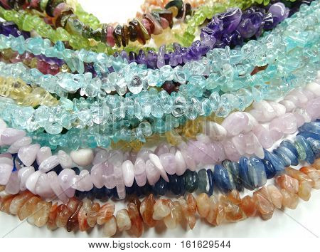 semiprecious beads made of geological minerals group set poster
