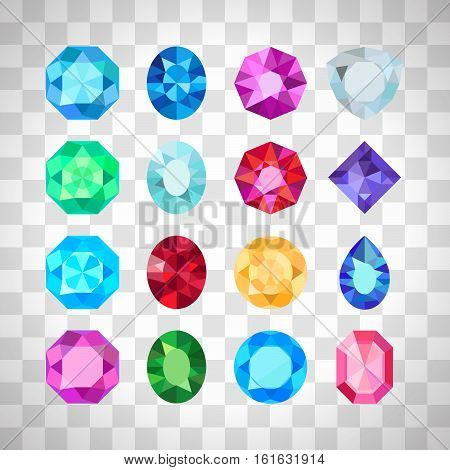 Gems isolated on white background. Vector jewels or precious diamonds gem set on the transparent background