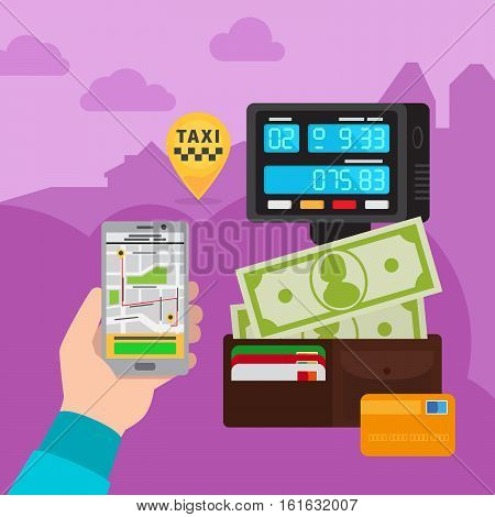 Smartphone touchscreen online taxi car call technology vector concept illustration