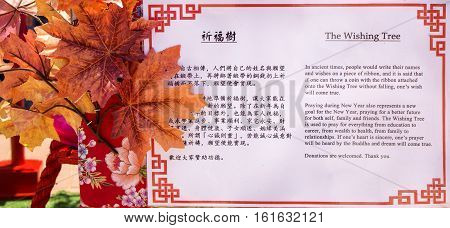 Bronkhorstspruit, South Africa - February 06, 2016: The sign next to the Wishing Tree explaining the meaning of this traditional Chinese New Year Tree. Nan Hua Temple in South Africa. Chinese New Year ceremony.