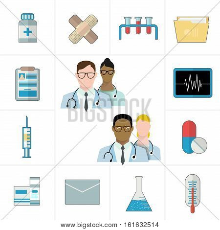 Medical and pharmaceutical or pharma icons. Thermometer, tablets and pills, drug, cardiogram, syringe, folder and documents. Vector illustration flat style. Avatars doctors, different races.