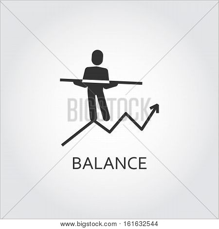Label of balance in business as man goes on chart to the top. Simple black icon. Logo drawn in flat style. Black shape pictograph for your design needs. Vector contour silhouette on white background.