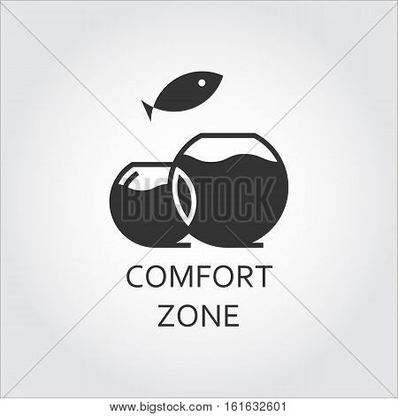 Label of comfort zone as aquarium and jumping fish. Simple black icon. Logo drawn in flat style. Black shape pictograph for your design needs. Vector contour silhouette on white background.