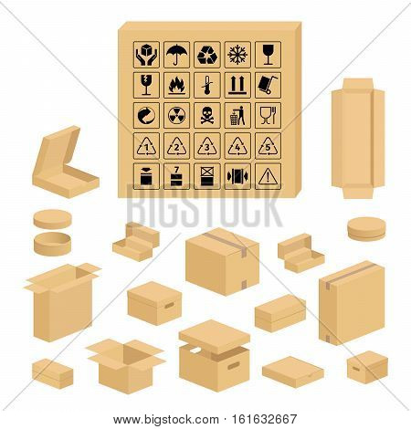 Packaging symbols. Carton box pack set. Closed and opened brown carton packing boxes vector flat items on white