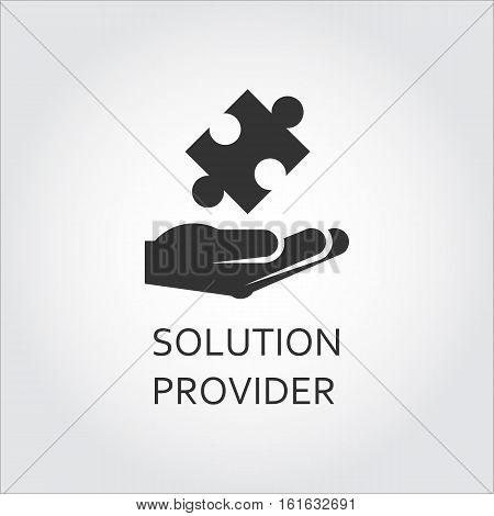 Label of solution provider or innovation as hand giving puzzle. Simple black icon Logo drawn in flat style. Black shape pictograph for your design needs. Vector contour silhouette on white background.