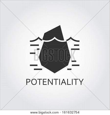 Label of hidden potential and opportunity as iceberg. Simple black icon. Logo drawn in flat style. Black shape pictograph for your design needs. Vector contour silhouette on white background.