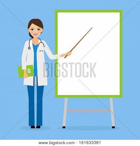 Doctor or nurse with flipchart board vector illustration