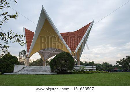 pavilion in the garden at Suanluang Rama 9 public park Bangkok Thailand.