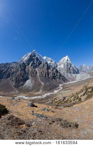 beautiful mountain landscape on the way to everest base camp. sagarmatha national park. nepal