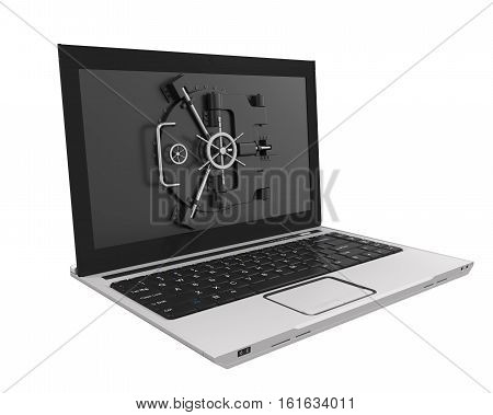 Laptop with Vault Door isolated on white background. 3D render