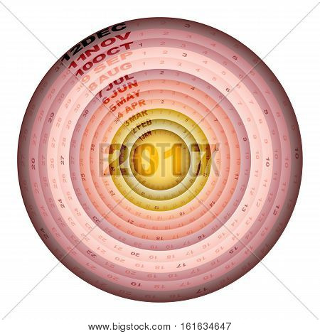 Rose gold rings design template of 2017 calendar stock vector