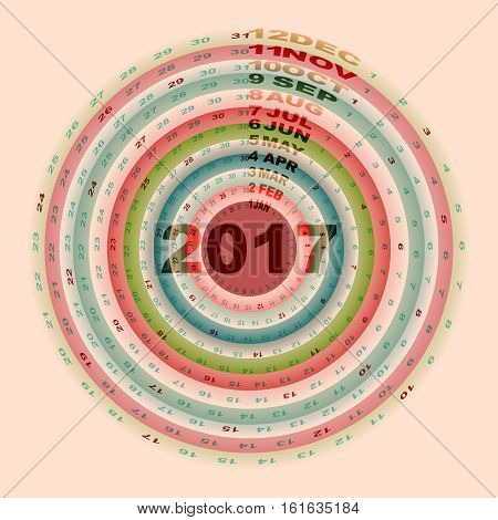 Christmas color rings design template of 2017 calendar stock vector
