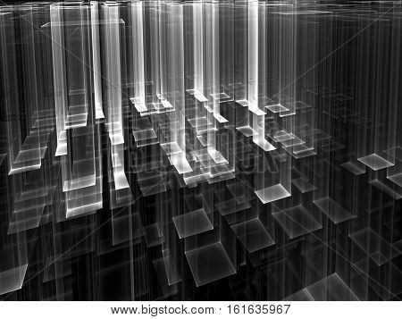 Technology background - abstract computer-generated 3d illustration. Fractal geometry: aspiring upward translucent, like glass, rectangles. Backdrop for tech or industrial design.