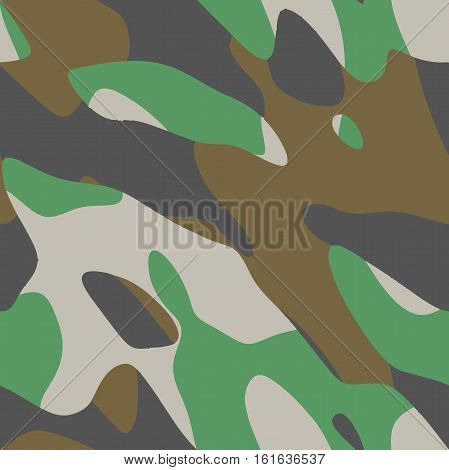 Vector seamless camouflage. classic four-color camo pattern. Image of distorted spots for backgrounds, prints on clothes, texturing