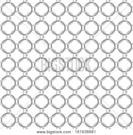 Simple seamless vector pattern - twisted steel rings in a special way, imitating the classic chain mail. For backgrounds, web design, texturing.