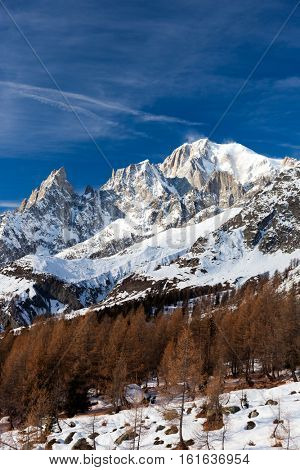 The south face of Mont Blanc, the highest mountain in continental Europe.Winter season. Italian Alps, Europe.