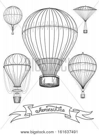 Aeronautica poster design vector illustration. Graphic poster with hot air balloons and ribbon Aeronautica