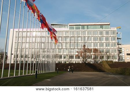 STRASBOURG, FRANCE - DECEMBER 9, 2016: Building of Parliamentary Assembly of the Council of Europe. Assembly was founded in 1949
