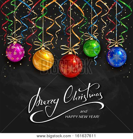 Colorful Christmas balls with tinsel and golden confetti on black chalkboard background, holiday lettering Merry Christmas and Happy New Year, illustration.
