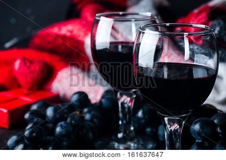 Two Glasses Of Red Wine, Grapes