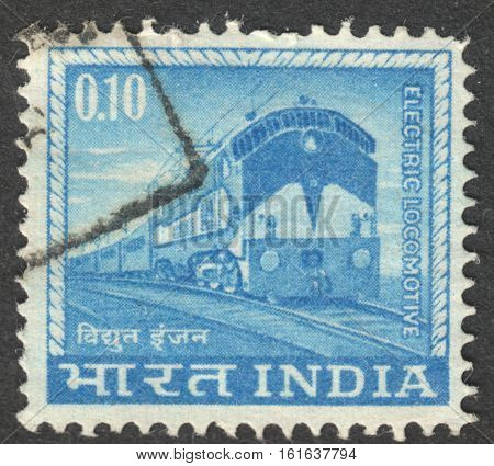 MOSCOW RUSSIA - CIRCA NOVEMBER 2016: a post stamp printed in INDIA shows an electric locomotive the series