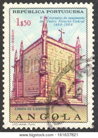 MOSCOW RUSSIA - CIRCA NOVEMBER 2016: a post stamp printed in ANGOLA shows the St.Jerome Convent the series